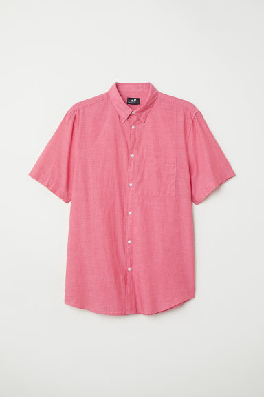 Cotton shirt Regular fit - Light red/Chambray - Men | H&M