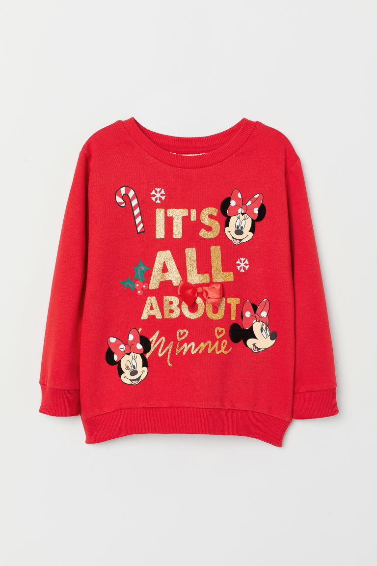 Long-sleeved top - Bright red/Minnie Mouse - Kids | H&M