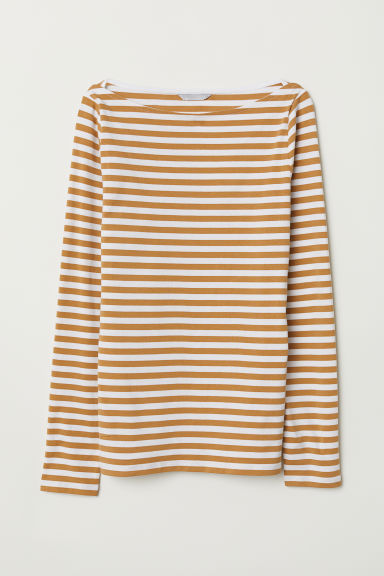 Pima cotton jersey top - Beige/Striped - Ladies | H&M GB