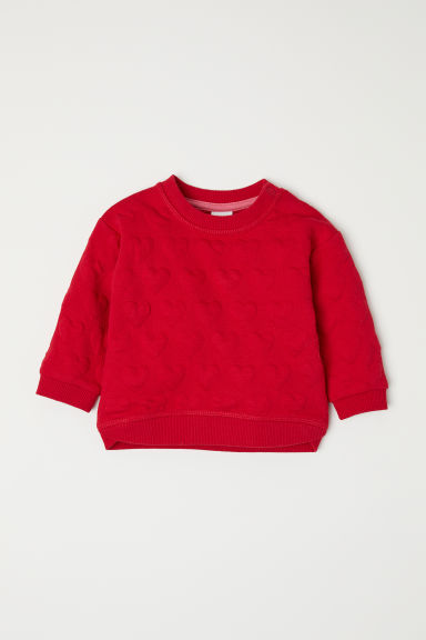 Patterned sweatshirt - Red/Hearts - Kids | H&M