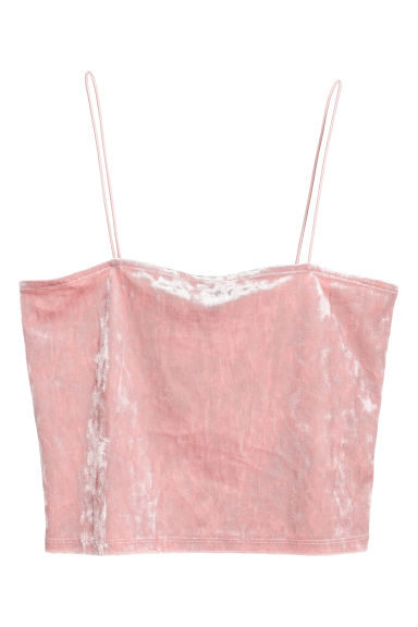 Crushed velvet strappy top - Light pink - Ladies | H&M GB