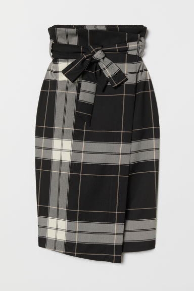 Wrapover skirt with a tie belt - Black/Checked - Ladies | H&M CN