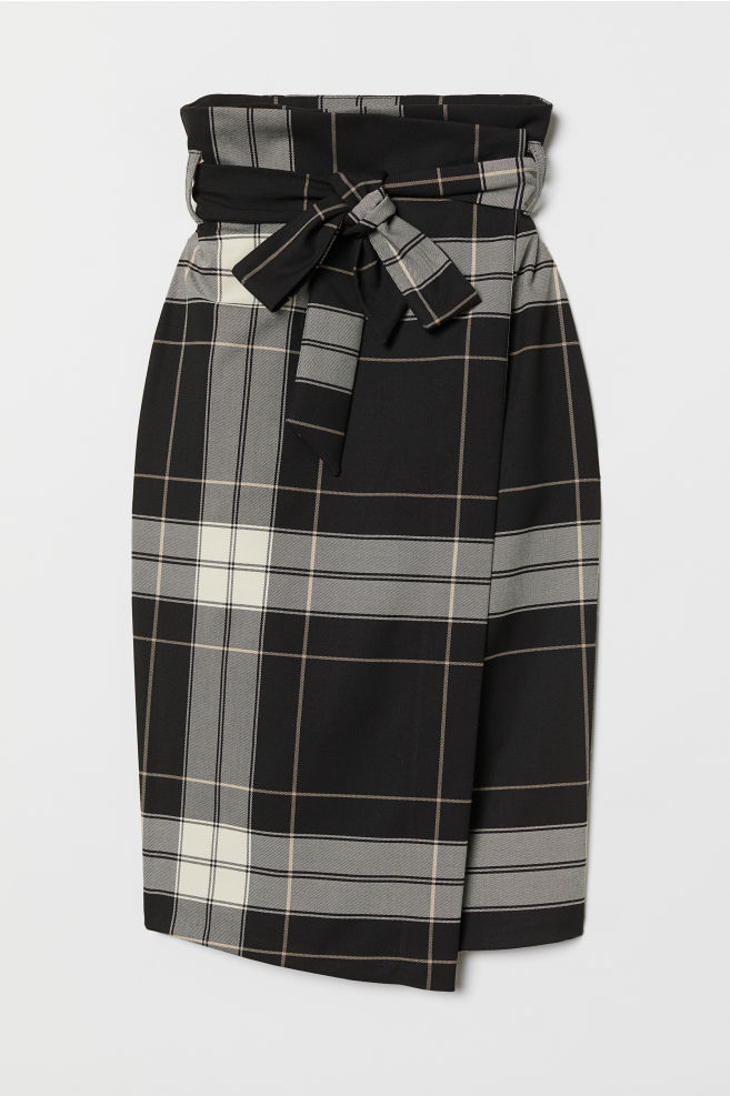 db4bd8a9b1 Wrap Skirt with Tie Belt - Black/checked - Ladies | H&M ...