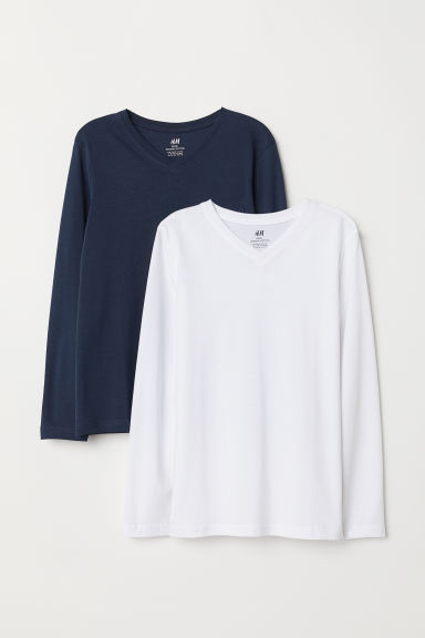 Set van 2 tricot T-shirts - Donkerblauw/wit - KINDEREN | H&M BE