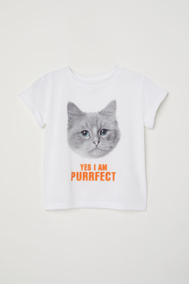 Printed jersey top - White/I Am Purrfect - Kids | H&M
