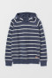 Dark blue marl/White striped