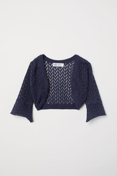 Loose-knit bolero - Dark blue -  | H&M