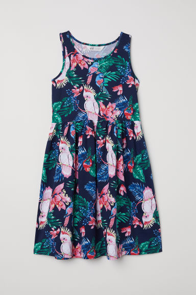 Patterned jersey dress - Dark blue/Cockatoos - Kids | H&M