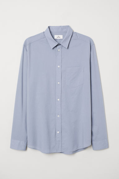 Cotton poplin shirt - Pigeon blue - Men | H&M