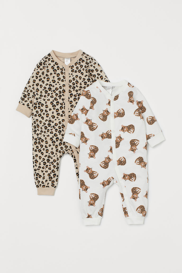 2-pack cotton pyjamas - White/Leopards - Kids | H&M GB