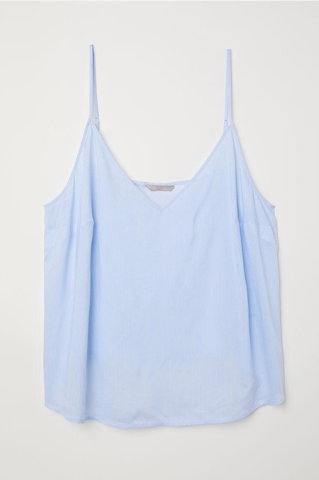 42c7e3734acbf H M+ V-neck Camisole Top - Light blue white striped - Ladies