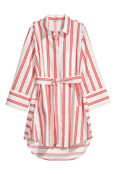 Cotton shirt with a tie belt - White/Red striped - Ladies | H&M CN