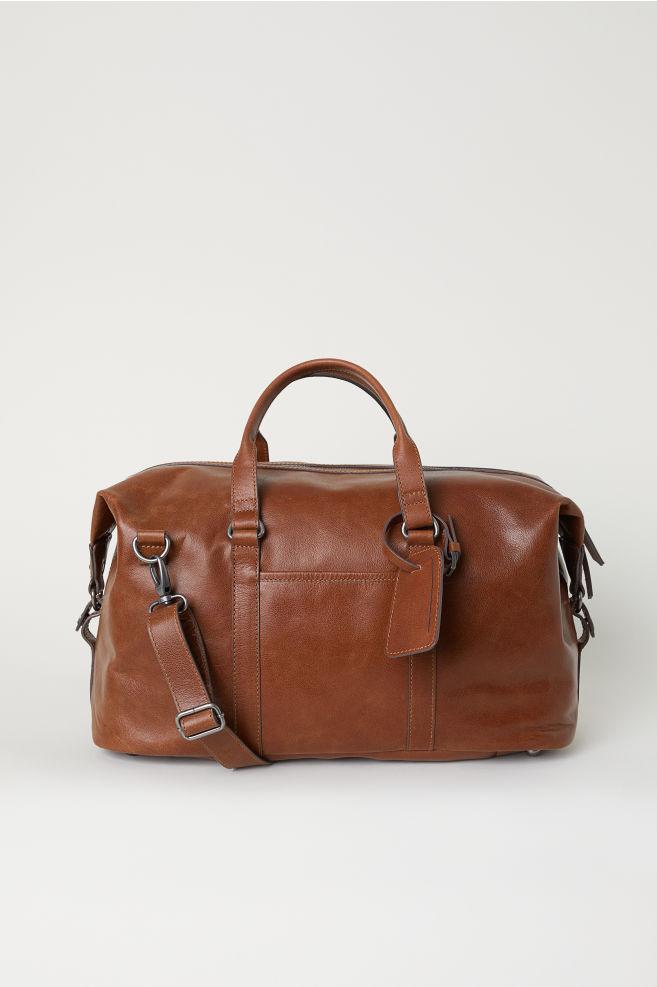 81c60e3fdaa8 Кожаная дорожная сумка - Коричневый - Мужчины | H&M ...