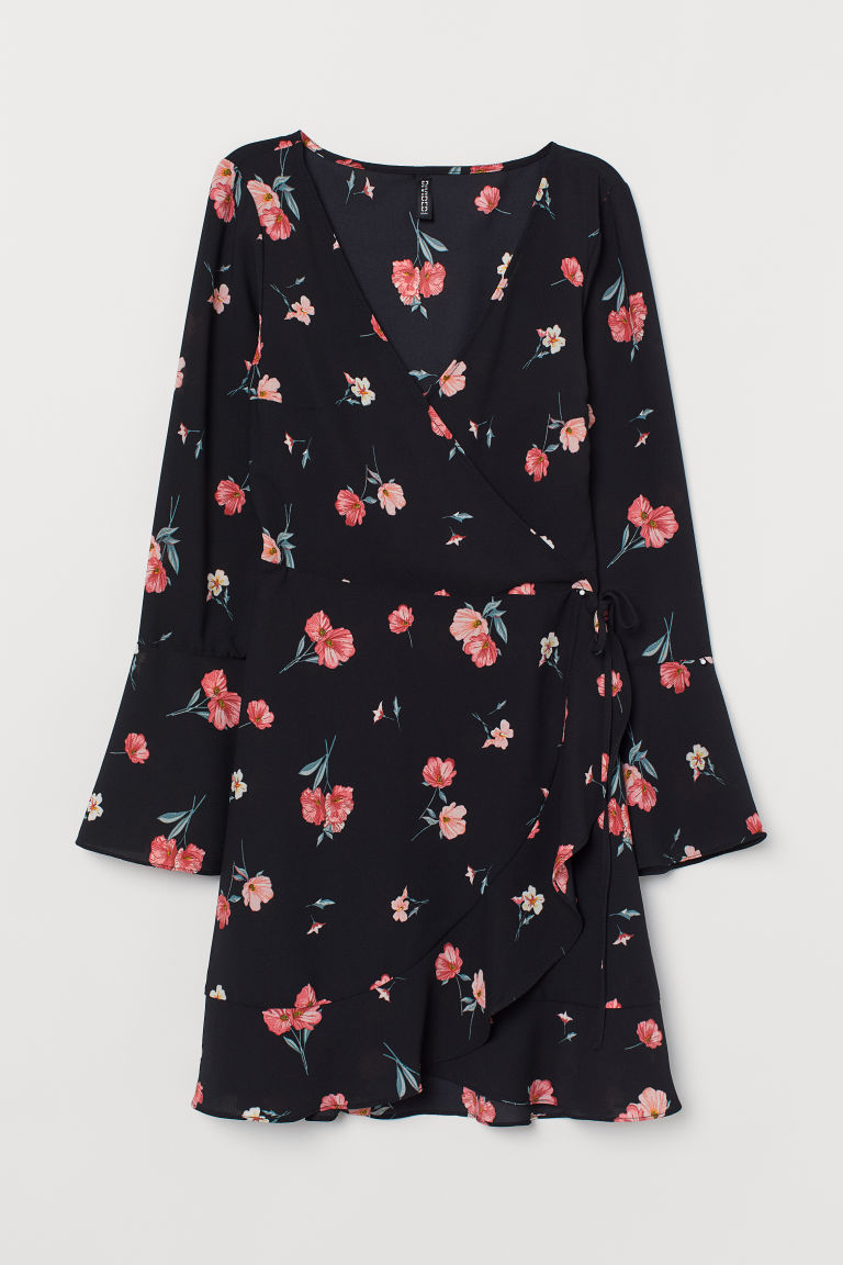 Crêped Wrap-front Dress - Black/floral -  | H&M CA