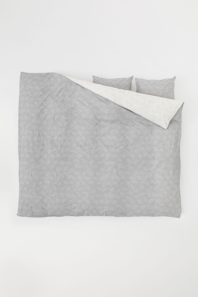 Patterned duvet cover set - Grey - Home All | H&M CN