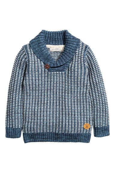 Shawl-collar jumper - Blue/White striped - Kids | H&M