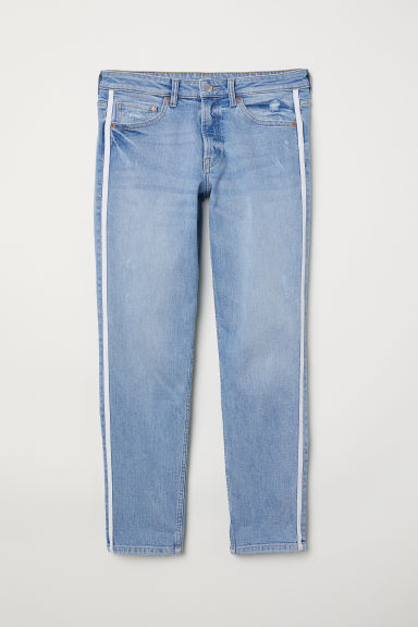 Girlfriend Regular Jeans - Blu denim chiaro/bande a lato - DONNA | H&M IT