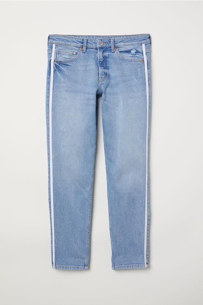 d35e90ceb5 Girlfriend Regular Jeans - Light denim blue/side stripes - | H&M ...