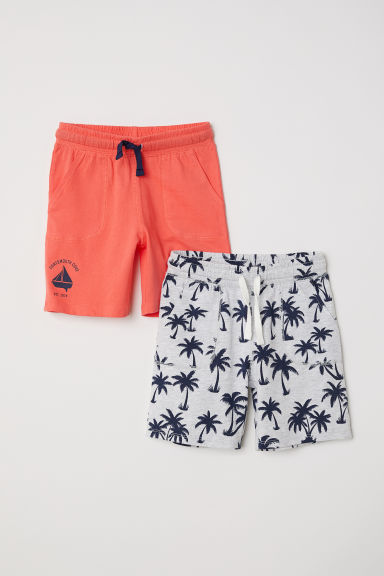 2-pack jersey shorts - Grey marl/Palm trees - Kids | H&M