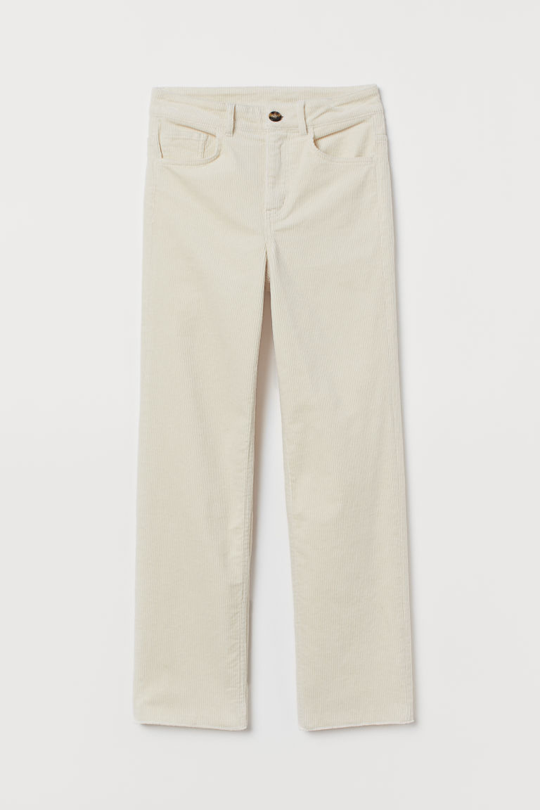 Ankle-length corduroy trousers - Cream -  | H&M GB