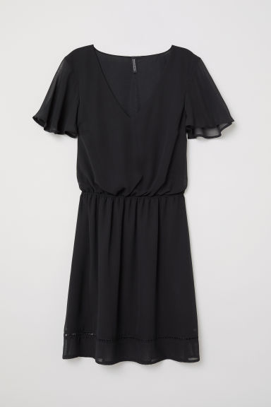 Chiffon dress - Black -  | H&M CN