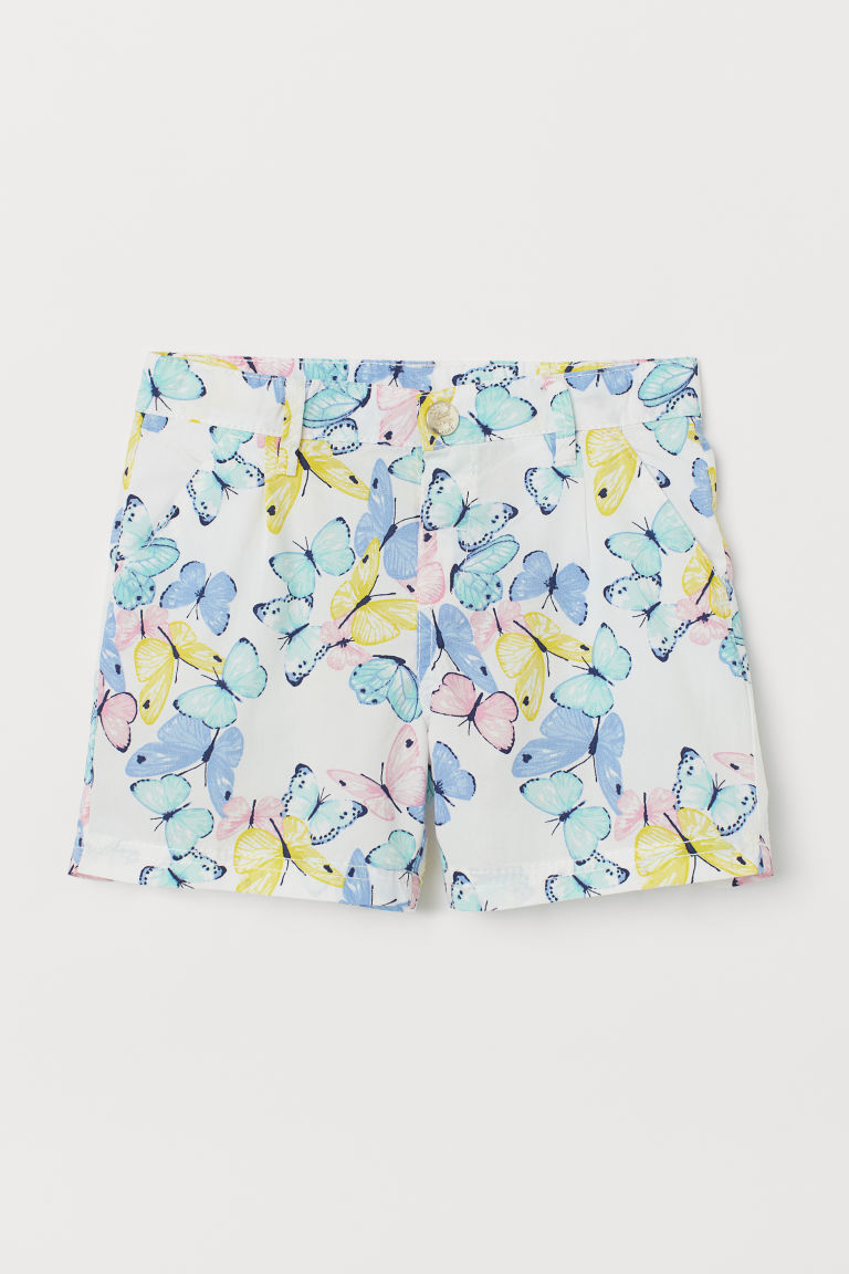 Cotton Shorts - White/butterflies - Kids | H&M US