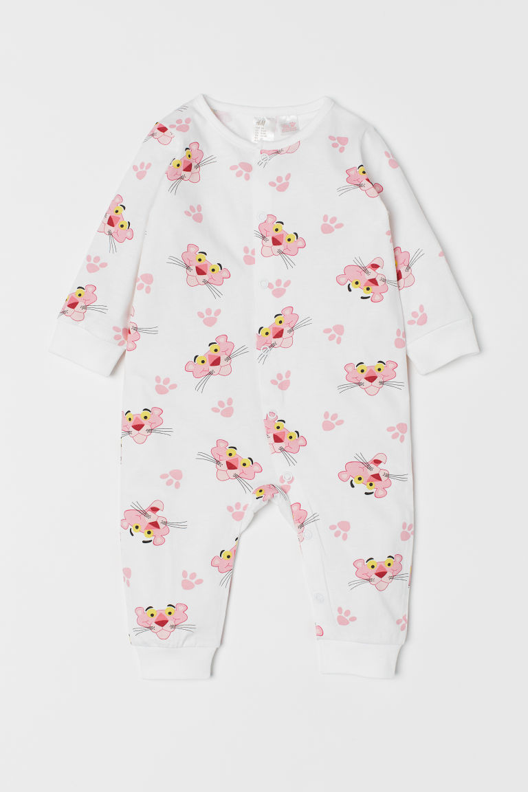 Printed all-in-one pyjamas - White/Pink Panther - Kids | H&M CN