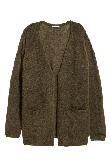 Mohair-blend cardigan - Dark khaki green - Ladies | H&M