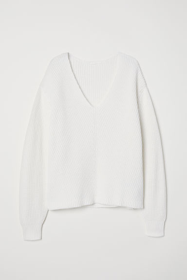 V-neck cotton jumper - White - Ladies | H&M