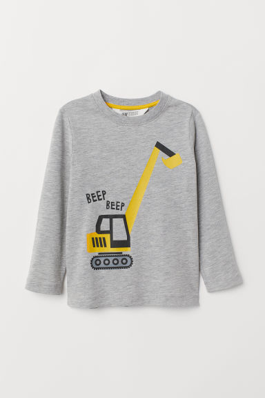 Printed jersey top - Light grey marl - Kids | H&M