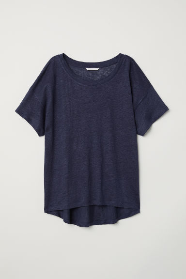T-shirt in lino - Blu scuro - DONNA | H&M IT