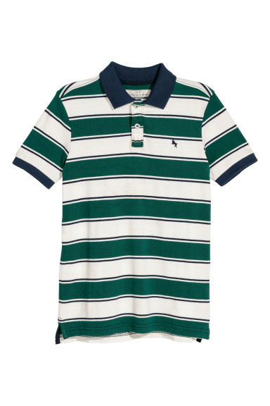 Polo shirt - Natural white/Green striped - Kids | H&M CN