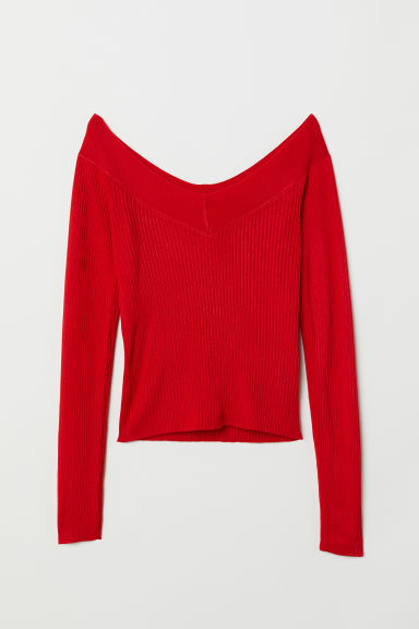 V-neck top - Red -  | H&M GB