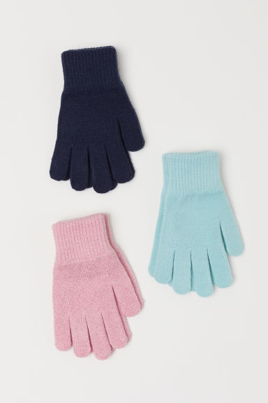 3-pack gloves - Pink/Dark blue/Turquoise - Kids | H&M