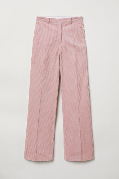Wide corduroy trousers - Pink - Ladies | H&M