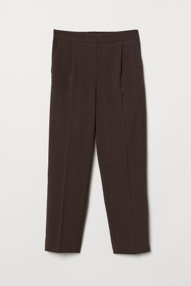 Pull-on trousers - Brown/Checked - Ladies | H&M