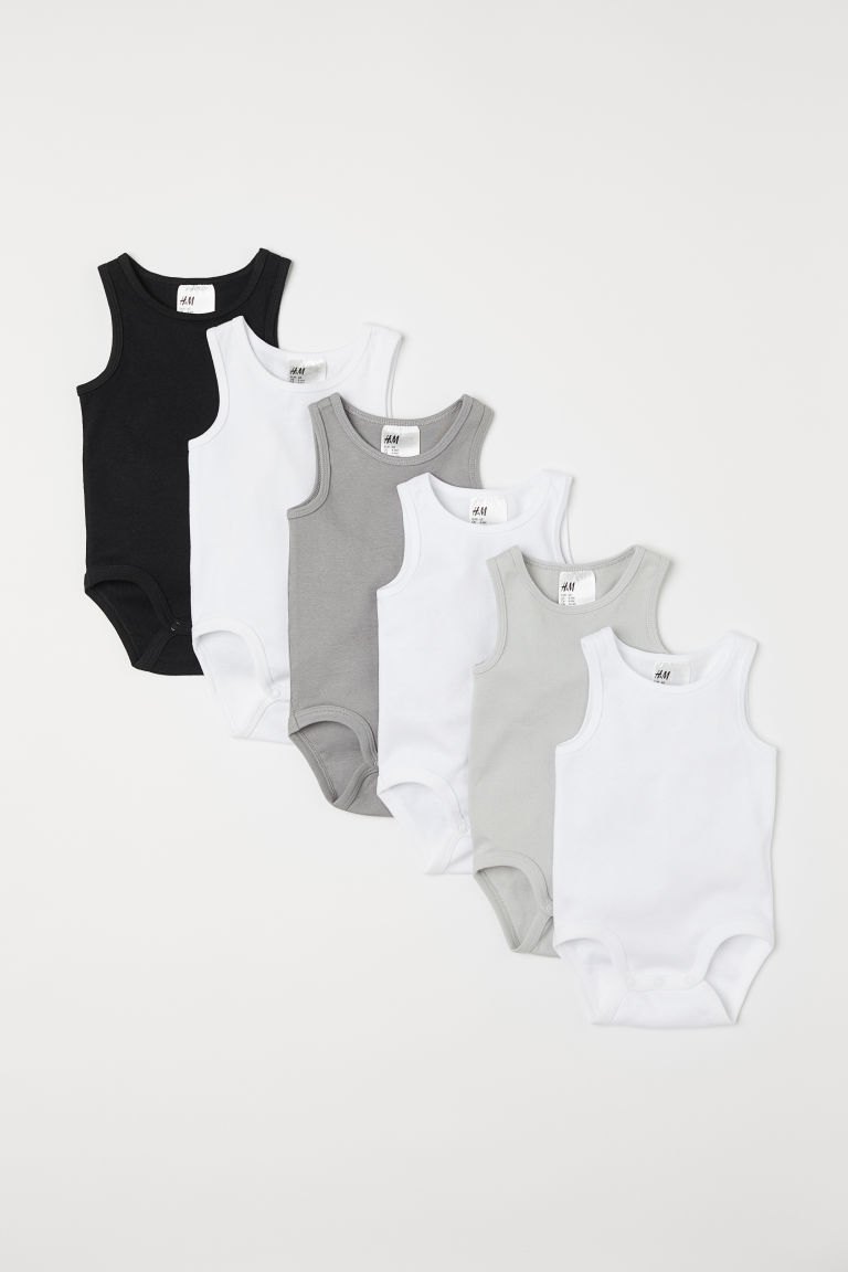 6-pack Sleeveless Bodysuits - Gray - Kids | H&M US