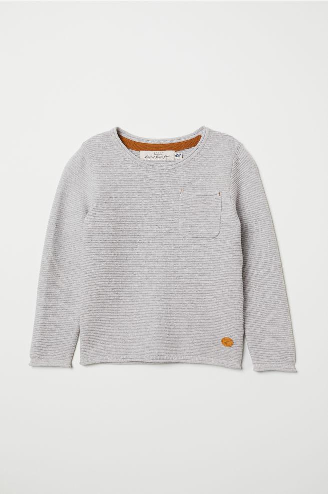 5868a0cf4 Textured-knit Sweater - Light gray melange - Kids