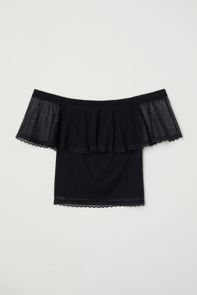 Top in mesh a pois - Nero -  | H&M IT