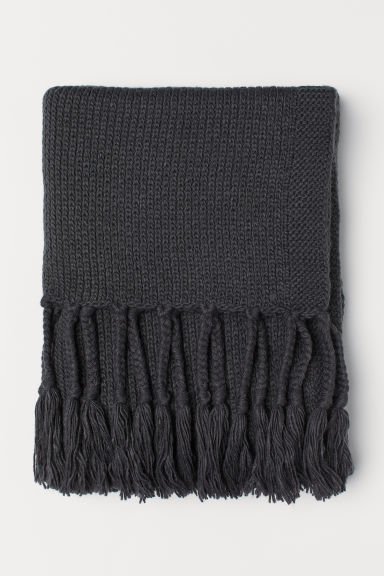 Knit Throw with Fringe - Dark gray - Home All | H&M US