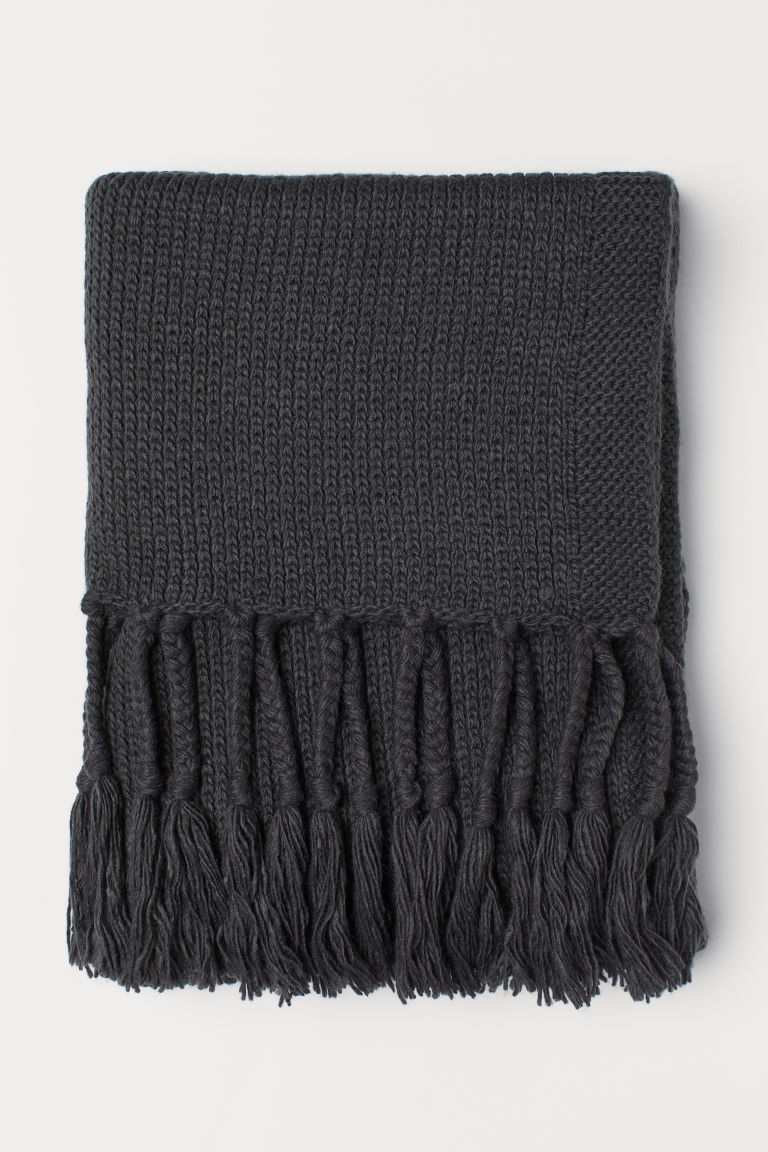 Knit Throw with Fringe - Dark gray - Home All | H&M CA 1