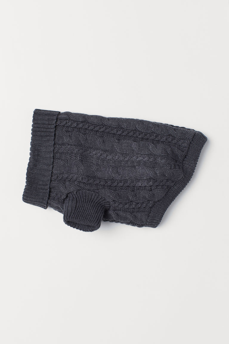 Cable-knit dog jumper - Dark grey - Men | H&M