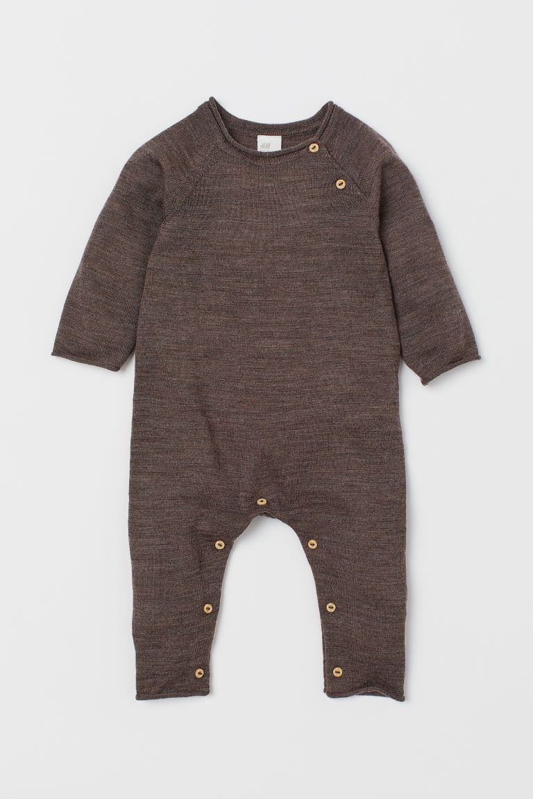 Merino Wool Overall - Dark brown melange - Kids | H&M CA