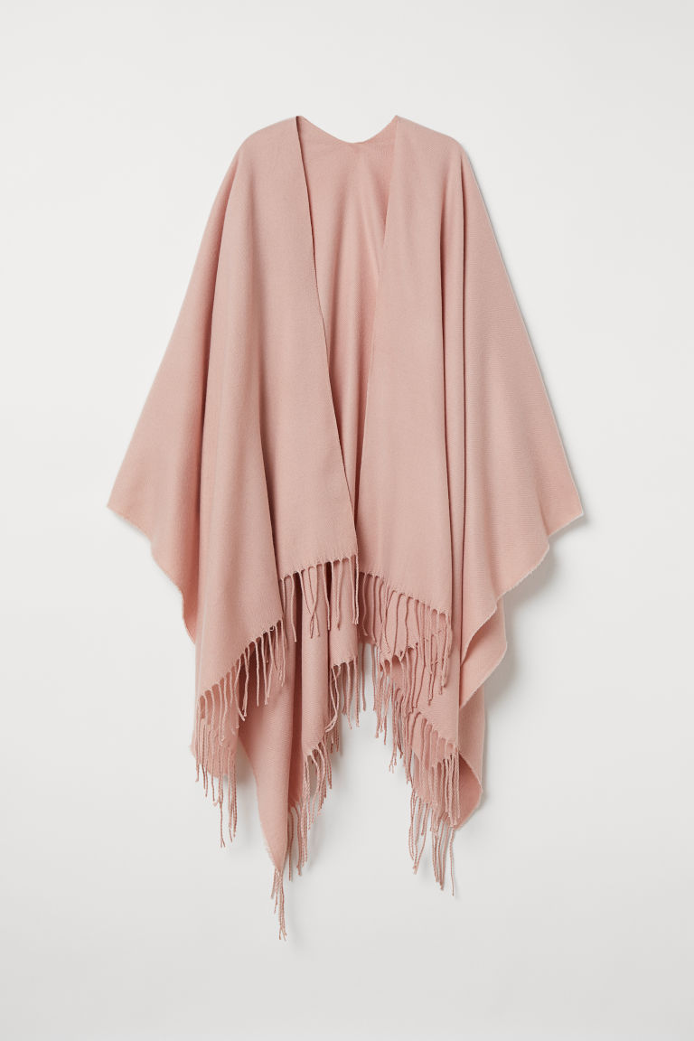 Woven Poncho with Fringe - Powder pink -  | H&M US