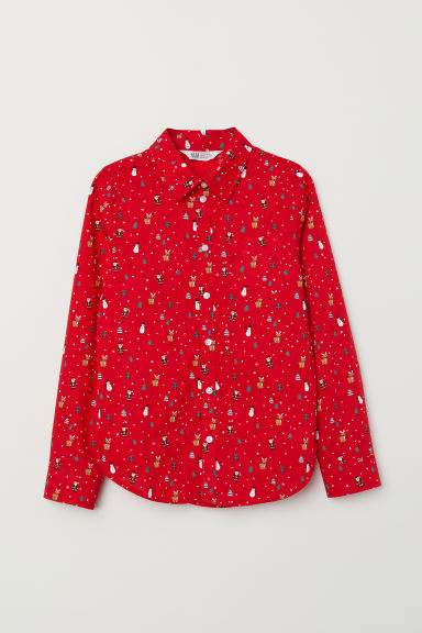 Cotton shirt - Red/Patterned - Kids | H&M CN