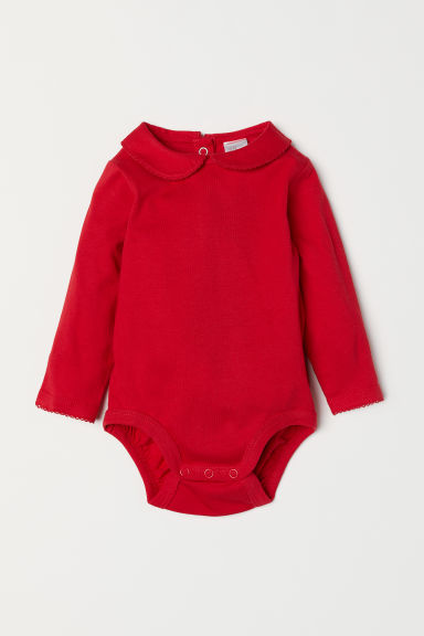 Bodysuit with a collar - Red - Kids | H&M CN