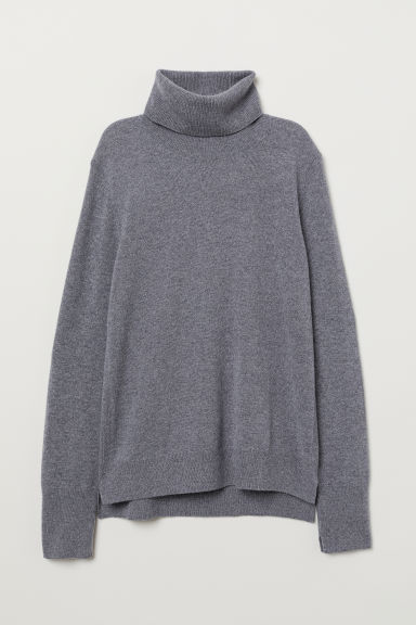 Cashmere polo-neck jumper - Grey marl - Ladies | H&M
