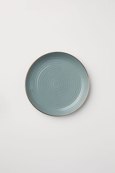 Textured porcelain plate - Dusky green - Home All | H&M CN