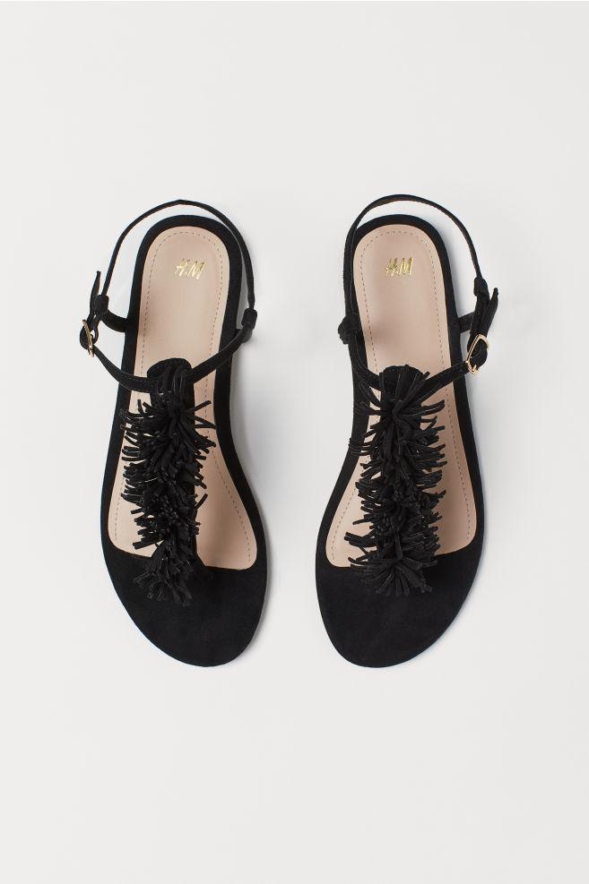 e8ae35fc3 Sandals with Fringe - Black - Ladies