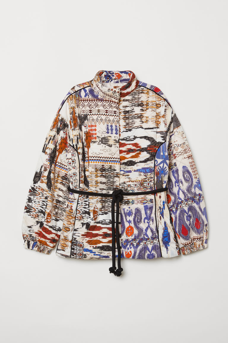 Jacket with a tie belt - Natural white/Patterned - Ladies | H&M CN